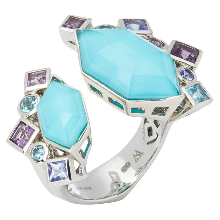 Stephen Webster 18 Karat White Gold Crystal Haze Gold Struck Turquoise Open Ring For Sale