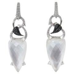 Stephen Webster 18 Karat White Gold Diamond and Quartz Dangle Earrings