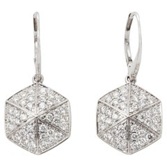 Stephen Webster 18 Karat White Gold Full Pave Diamond Deco Earrings
