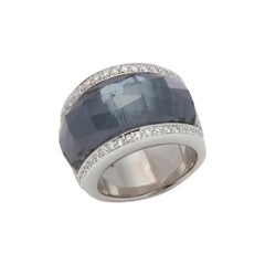 Stephen Webster 18 Karat White Gold Hematite and Diamond Jelly Bean Ring