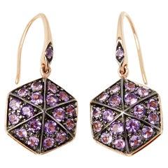 Stephen Webster 18 Karat Rose Gold Full Pave Amethyst Deco Earrings