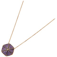 Stephen Webster 18 Karat Rose Gold Full Pave Amethyst Deco Pendant