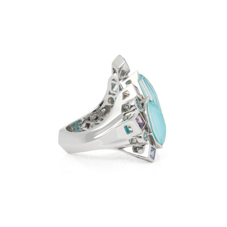Contemporary Stephen Webster 18 Karat White Gold Crystal Haze Gold Struck Turquoise Open Ring For Sale