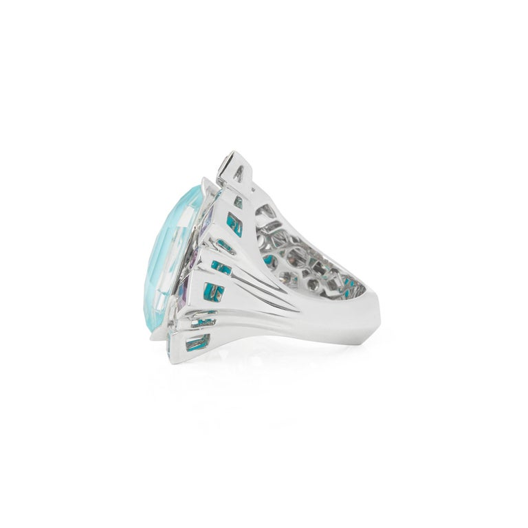 Mixed Cut Stephen Webster 18 Karat White Gold Crystal Haze Gold Struck Turquoise Open Ring For Sale