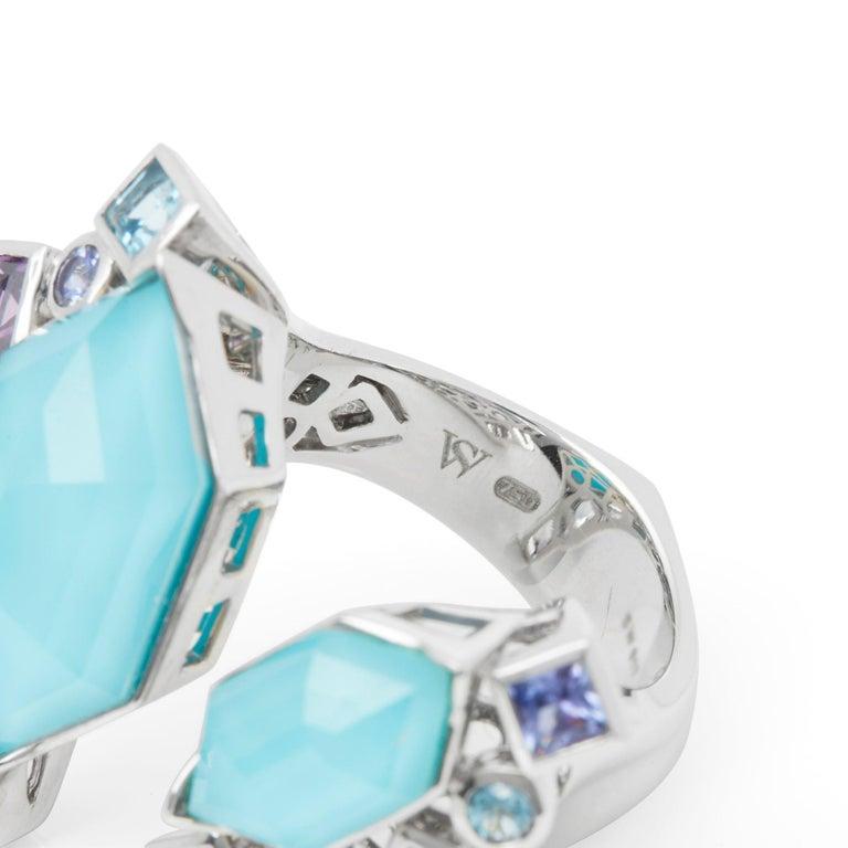 Women's Stephen Webster 18 Karat White Gold Crystal Haze Gold Struck Turquoise Open Ring For Sale