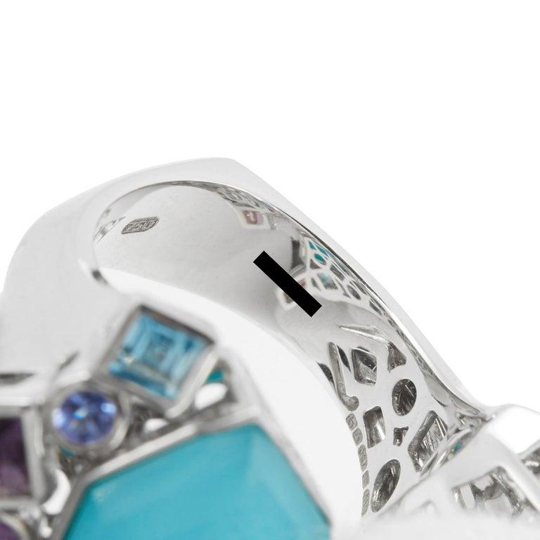 Stephen Webster 18 Karat White Gold Crystal Haze Gold Struck Turquoise Open Ring For Sale 1