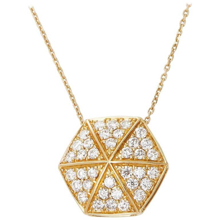 Stephen Webster 18 Karat Yellow Gold Full Pave Diamond Deco Pendant For Sale