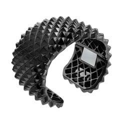 Stephen Webster 925 Silver Black Rhodium Superstud Hinged Cuff Bangle Bracelet