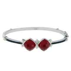 Stephen Webster 925 Silver Red Coral and Black Sapphire Haze Bracelet