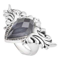 Stephen Webster Baroque Superstud Silver Cat's Eye and Quartz Diamond Ring