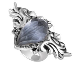 Stephen Webster Baroque Superstud Sterling Silver Diamond and Gemstone Ring