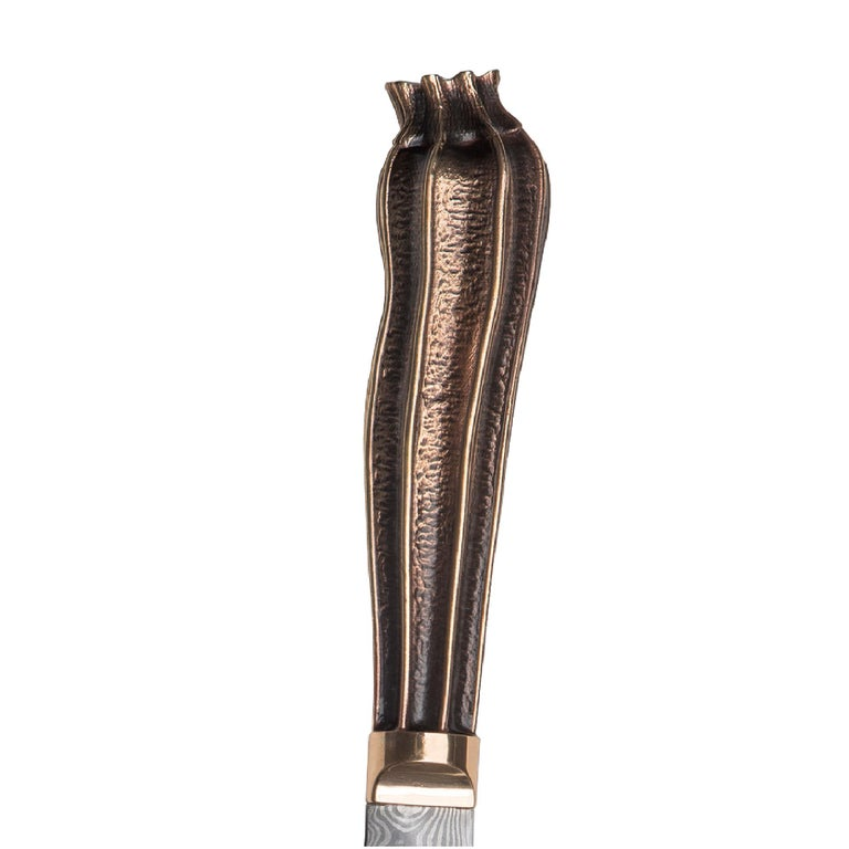 Stephen Webster Beasts Chef's Knives with Folded Steel Blades and Bronze Handles For Sale 9