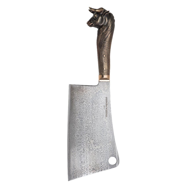 Contemporary Stephen Webster Beasts Chef's Knives with Folded Steel Blades and Bronze Handles For Sale