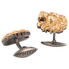 Stephen Webster Beasts of London 18 Karat Rose Gold Lion Heads Silver Cufflinks