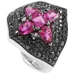 Stephen Webster Belle Epoque 18 Karat Gold Black Diamond and Rubellite Ring