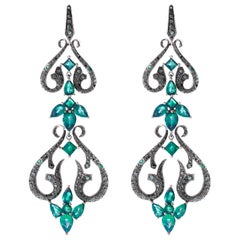 Stephen Webster Belle Époque Emerald Chandelier Convertible Gold Long Earrings