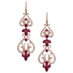 Stephen Webster Belle Époque Ruby Chandelier Convertible Rose Gold Long Earrings