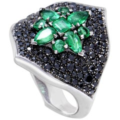 Stephen Webster Belle Époque Women's 18 Karat Gold Black Diamond & Emerald Ring