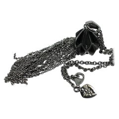 Stephen Webster Blackened Silver Tassel Pendant and Chain