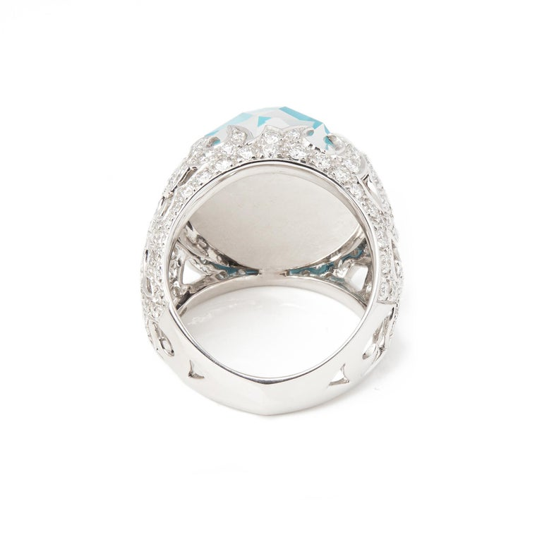 Contemporary Stephen Webster Borneo Lipstick 18ct White Gold Crystal Haze and Diamond Ring  For Sale