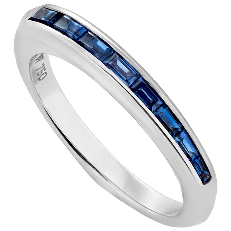 Stephen Webster CH₂ Blue Sapphire and 18 Carat White Gold Baguette Stack Ring For Sale