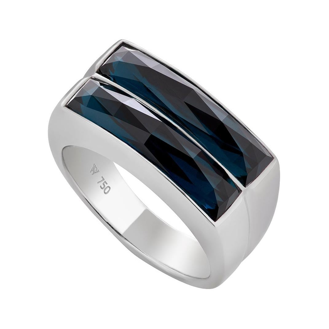 Stephen Webster CH₂ Blue Topaz over Hematite Crystal Haze Double Row Ring
