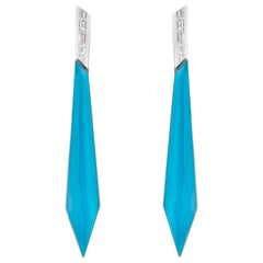 Stephen Webster CH₂ Turquoise Crystal Haze and Diamonds Stiletto Earrings