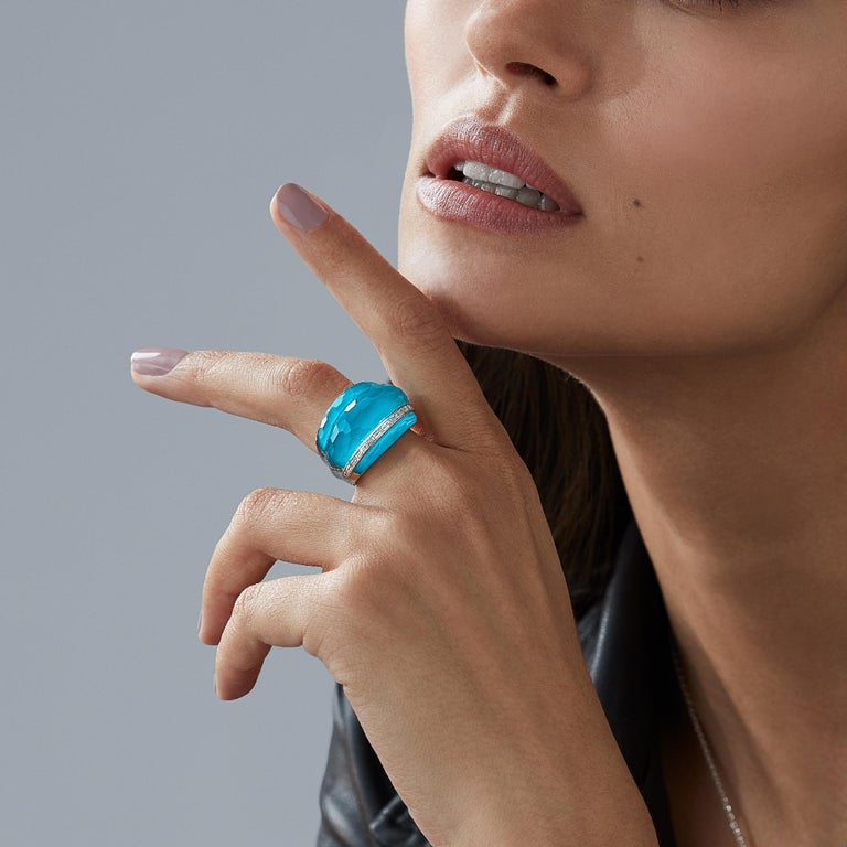 Contemporary Stephen Webster CH₂ Turquoise Crystal Haze and White Diamonds Cocktail Ring