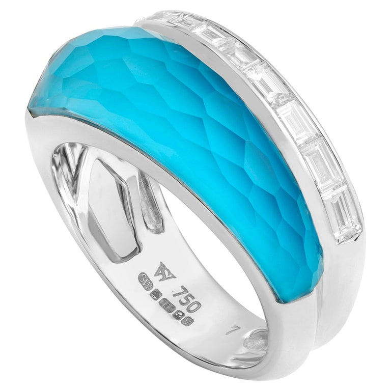 Stephen Webster CH₂ Turquoise Crystal Haze and White Diamonds Slimline Ring