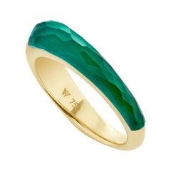 Stephen Webster CH₂ Green Agate Crystal Haze and Gold Slimline Shard Stack Ring