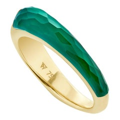 Stephen Webster CH₂ Green Agate Crystal Haze and Gold Slimline Shard Stack Ring
