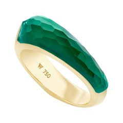 Stephen Webster CH₂ Green Agate Crystal Haze and Yellow Gold Shard Stack Ring