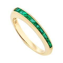 Stephen Webster CH₂ Green Emeralds and 18 Carat Yellow Gold Baguette Stack Ring