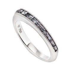 Stephen Webster CH₂ Grey Spinel and 18 Carat White Gold Baguette Stack Ring