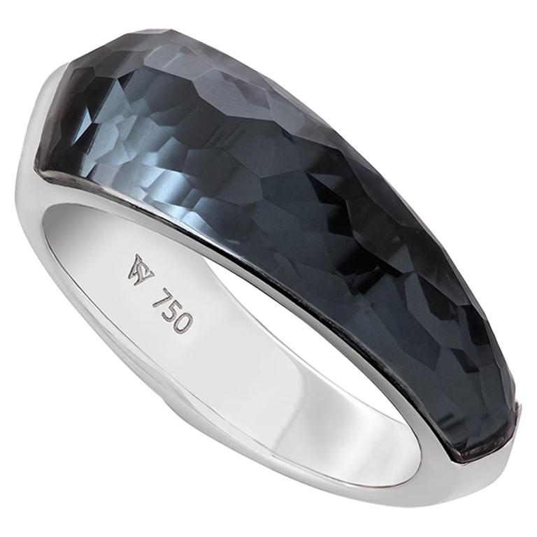 CH₂ Crystal Haze hematite and white gold shard stack ring