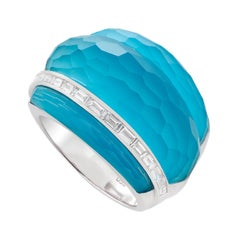 Stephen Webster CH₂ Turquoise Crystal Haze and White Diamonds Cocktail Ring
