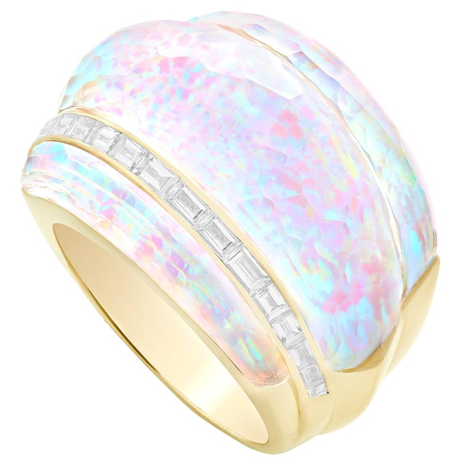Stephen Webster CH₂ White Opalescent Crystal Haze and Diamonds Cocktail Ring