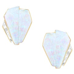 Stephen Webster CH₂ White Opalescent Crystal Haze and Diamonds Cuff Earrings