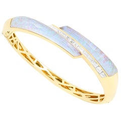 Stephen Webster CH₂ White Opalescent Crystal Haze and Diamonds Shard Bangle