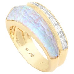 Stephen Webster CH₂ White Opalescent Crystal Haze and Diamonds Slimline Ring