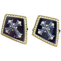 Stephen Webster Contemporary Diamond Cufflinks, Gothic Style, 18 Carat Gold