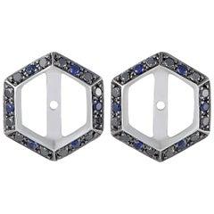 Stephen Webster Deco 18 Karat Gold Black Diamond and Sapphire Earring Jackets