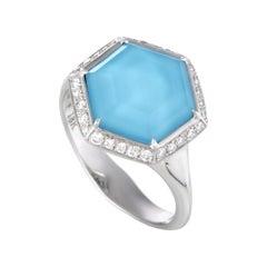Stephen Webster Deco 18 Karat Gold Diamond Turquoise and Quartz Hexagonal Ring