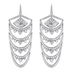 Stephen Webster Deco New York White Diamond Pavé '9.78 Carat' Earrings