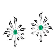 Stephen Webster Dynamite White Gold and Emerald Damage is Already Done Earrings