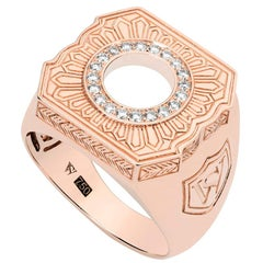 Stephen Webster England Made Me 18 Carat Rose Gold and White Diamond Signet Ring