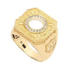Stephen Webster England Made Me 18ct Yellow Gold and White Diamond Signet Ring