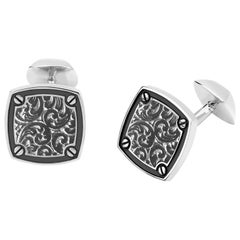 Stephen Webster England Made Me Cushion Inlay Engraved Silver Cufflinks