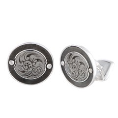 Stephen Webster England Made Me Silver and Mother of Pearl Round Cufflinks