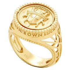 Stephen Webster Flipside Sovereign 18 Carat Gold and Black Enamel Pinky Ring